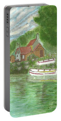 Portable Battery Charger featuring the painting Ferryman's Cottage by Tracey Williams