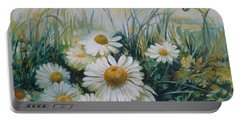 Portable Battery Charger featuring the painting Field Of Flowers by Elena Oleniuc