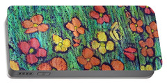 Field Of Flowers Portable Battery Charger by Elvira Ingram
