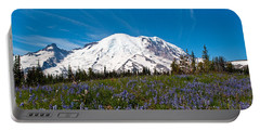 Field Of Lupines And Rainier Portable Battery Charger