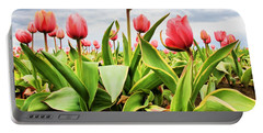 Field Of Pink Tulips Portable Battery Charger by Athena Mckinzie
