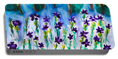 Field Of Violets Portable Battery Charger by Frank Bright