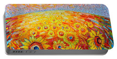 Fields Of Gold - Abstract Landscape With Sunflowers In Sunrise Portable Battery Charger