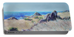 Fields With Rocks And Sea Portable Battery Charger