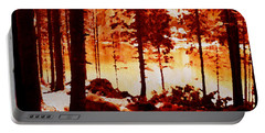 Fiery Red Landscape Portable Battery Charger