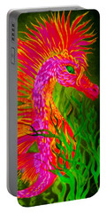 Portable Battery Charger featuring the painting Fiery Sea Horse by Adria Trail