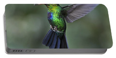 Fiery-throated Hummingbird..  Portable Battery Charger by Nina Stavlund