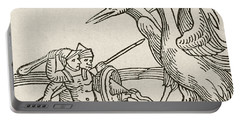 Fight Between Pygmies And Cranes. A Story From Greek Mythology Portable Battery Charger by English School