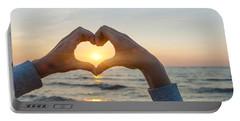Fingers Heart Framing Ocean Sunset Portable Battery Charger
