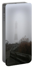 Fire Island Lighthouse In Fog Portable Battery Charger by Karen Silvestri