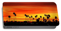 Portable Battery Charger featuring the photograph Fire Sunset In Long Beach by Mariola Bitner