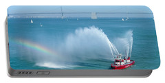 Portable Battery Charger featuring the photograph Fireboat Salute by John M Bailey