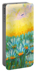 Portable Battery Charger featuring the painting Firelight by Holly Carmichael