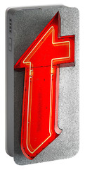 Firestone Building Red Neon T Portable Battery Charger by Catherine Sherman