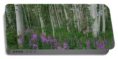 Portable Battery Charger featuring the photograph Fireweed And Aspen by Cascade Colors