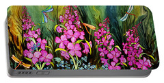 Fireweed And Dragonflies Portable Battery Charger by Teresa Ascone