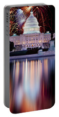 Firework Display Over A Government Portable Battery Charger by Panoramic Images