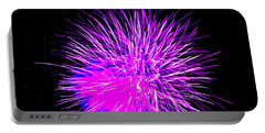 Fireworks In Purple Portable Battery Charger by Michael Porchik
