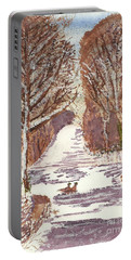 Portable Battery Charger featuring the painting First Footprints by Tracey Williams