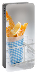 Fish And Chips Portable Battery Charger by Amanda Elwell
