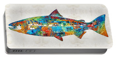 Fish Art Print - Colorful Salmon - By Sharon Cummings Portable Battery Charger