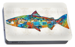 Fish Art Print - Colorful Salmon - By Sharon Cummings Portable Battery Charger by Sharon Cummings