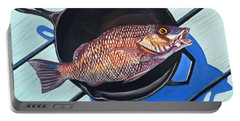 Fish Fry Portable Battery Charger by Susan Duda