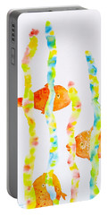 Portable Battery Charger featuring the painting Fish Fun by Michele Myers