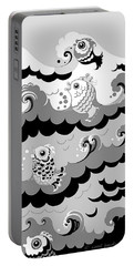 Portable Battery Charger featuring the digital art Fish Waves by Carol Jacobs