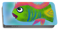 Portable Battery Charger featuring the digital art Fish Wish by Christine Fournier
