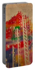 Fisher Building Iconic Buildings Of Detroit Watercolor On Worn Canvas Series Number 4 Portable Battery Charger by Design Turnpike
