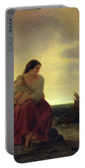Fishermans Wife Mourning On The Beach Oil On Canvas Portable Battery Charger