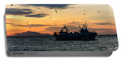 Fishing Boat At Sunset Portable Battery Charger