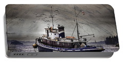 Portable Battery Charger featuring the mixed media Fishing Boat by Peter v Quenter