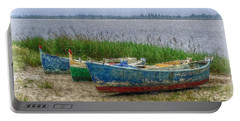 Fishing Boats Portable Battery Charger by Hanny Heim
