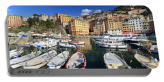 Portable Battery Charger featuring the photograph fishing boats in Camogli by Antonio Scarpi