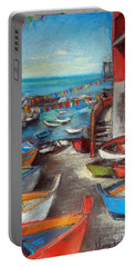 Fishing Boats In Riomaggiore Portable Battery Charger
