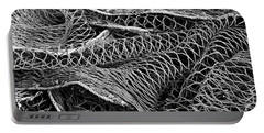 Portable Battery Charger featuring the photograph Fishing Nets Monochrome by Jane McIlroy
