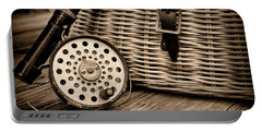 Fishing - Vintage Fly Fishing - Black And White Portable Battery Charger