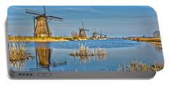 Five Windmills At Kinderdijk Portable Battery Charger by Frans Blok