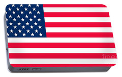 Flag Of The United States Of America Portable Battery Charger by Anonymous