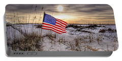 Flag On The Beach Portable Battery Charger