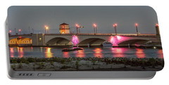 Flagler Bridge In Pink Portable Battery Charger