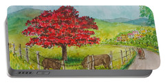 Flamboyan And Cows In Western Puerto Rico Portable Battery Charger