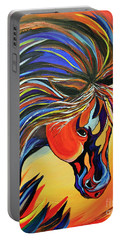 Flame Bold And Colorful War Horse Portable Battery Charger