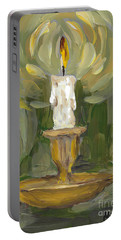 Portable Battery Charger featuring the painting Flame by Maria Langgle
