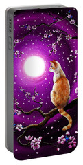 Flame Point Siamese Cat In Dancing Cherry Blossoms Portable Battery Charger by Laura Iverson