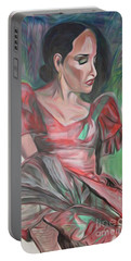 Portable Battery Charger featuring the painting Flamenco Solo by Ecinja Art Works