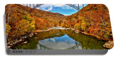 Flaming Fall Foliage At New River Gorge Portable Battery Charger by Adam Jewell