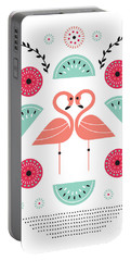 Flamingo Flutter Portable Battery Charger by Susan Claire